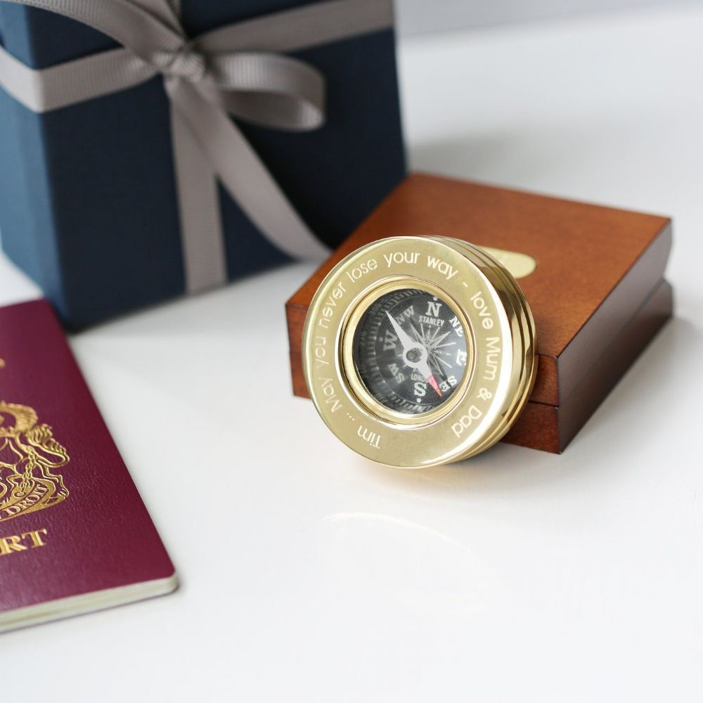 Personalised Brass Compass In Wooden Box Unique Gift For Men.  Premium personalised compass gift.